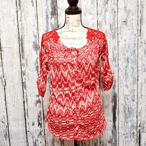 French Laundry Top Women Small Red 3/4 Sleeve Lace